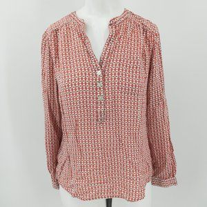 Loft Geometric Popover Blouse Size MP